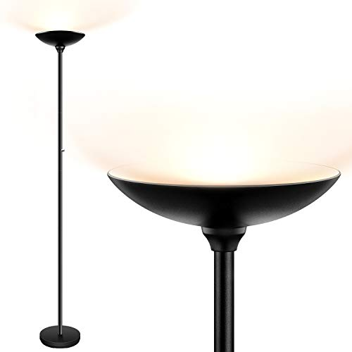 Torchiere Floor Lamp, LED Floor lamps, 24W 2400LM Super Bright Lamp, Energy-Saving, Stepless Dimmable, 3000K Warm White, Metal Body, Floor lamp for Bedroom, Standing Lamps for Living Room, Office