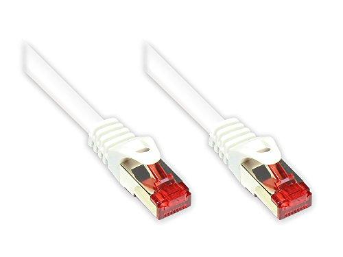 Good Connections Cat. 6 Ethernet LAN Patchkabel mit Rastnasenschutz RNS, S/FTP, PiMF, PVC, 250Mhz, Gigabit-fähig (10/100/1000-Base-T Ethernet Netzwerke), für Patchfelder, Patchpanels, Switch, Router, Modems, weiß, 0,15m