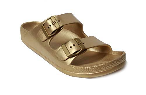 H2K Damen-Sandalen, leicht, bequem, weiche Slides, EVA, verstellbare Doppelschnalle, flache Sandalen Buddy, Gold (gold), 7 M EU