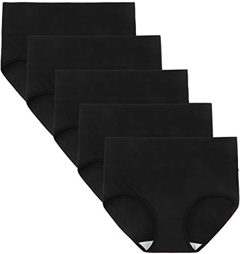 INNERSY Womens Underwear Cotton Briefs Postpartum High Waisted Panties 5 Pack(Medium, 5 Black)
