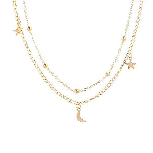 Collar Collar De Moda Collar Punk Color Dorado Simple Doble Luna Estrella Collar Corto Acero Inoxidable Mujer