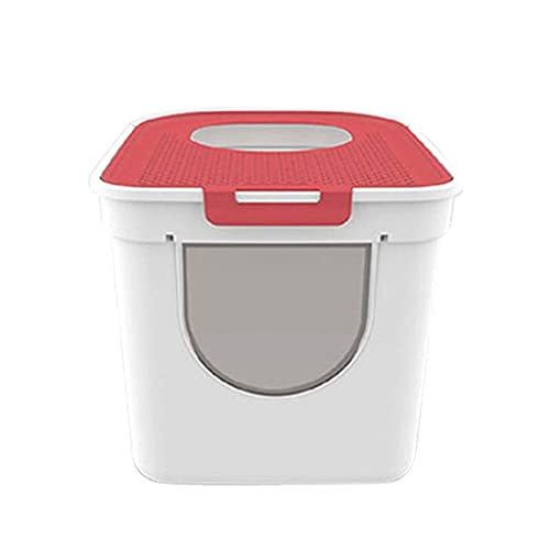 Cat Litter Box, Cat Litter Pan Cat Toilet Top Entrance Double Door Large Cat Litter Basin Large Space Fully Enclosed Cat Sand Basin Pet Supplies Cat Litter Box Enclosures Color : Red ( Color : Red )