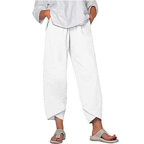 Messigaot Boho Cotton Linen Pants Womens Cropped Harem Trousers Elastic Waist Sweatpants with Pockets 030-White L