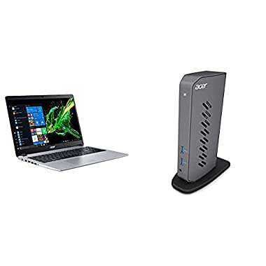 Acer Aspire 5 Slim Laptop A515-43-R6DE 15.6″ FHD IPS Display, AMD Ryzen 7 3700U, 8GB DDR4, 512GB SSD with Acer USB 3.0 Dock U301, 2 x HDMI | 1 x USB 3.1 | 4 x USB 2.0| 2 x USB 3.1 Gen 1, DFP (Front)
