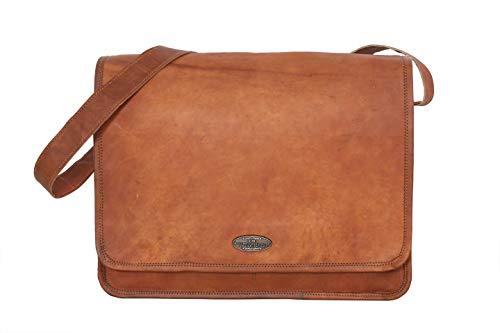 Laptoptasche 16 Zoll Christofer passend für MacBook Pro Laptophülle Notebooktasche Vintage Braun Leder