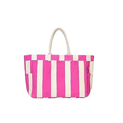 AQVA Canvas Tote Bag for Women, Shoulder Bag with Inner Zip Pocket, Printed Handbag for Shopping, Travel, Work, Beach