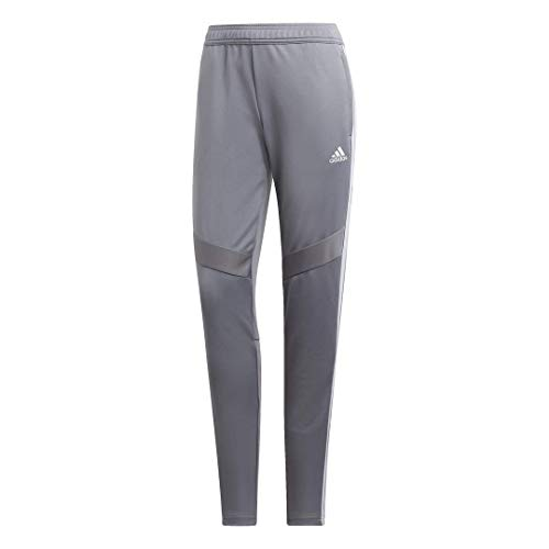 adidas Women's Tiro 19 AEROREADY Climacool Slim Fit Full Length Soccer Training Joggers Sweatpants Grey/White, Small