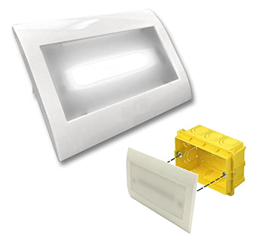 TOT Electric Lampada Emergenza luce led fredda incasso per scatola cassetta 503 con placca ghiera bianca