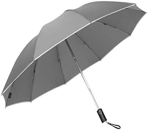 MGEE Paraguas Plegable Paraguas De Golf De Viaje A Prueba De Viento Cierre Automático, Ligero 10 Varillas Toldo Automático A Prueba De Viento Compacto con Luz Reflectante(Color:Gris)