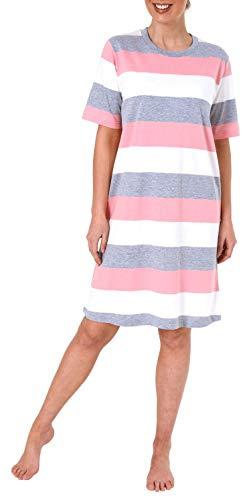 NORMANN WÄSCHEFABRIK Damen Nachthemd Kurzarm mit Block Streifen - Querstreifen - auch in Übergrössen bis 60/62-191 214 90 101, Farbe:rosa, Größe2:44/46