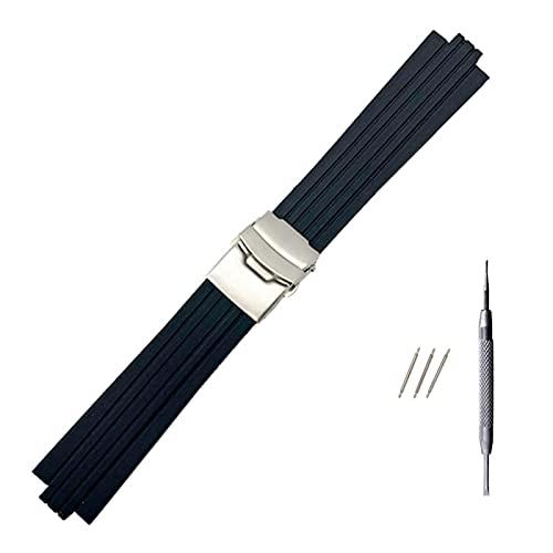 ZRNG 24 mm x 11 mm Reloj de Reloj de Goma de Silicona Ajuste para oris aquis Watch Band Band convexe Strap de Acero Inoxidable Hebilla de Seguridad Pulsera de muñeca Negro