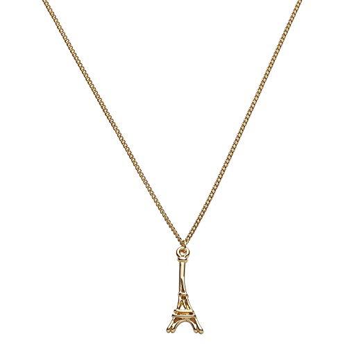 Draeger Paris – Collar de fantasía de metal dorado, diseño de Torre Eiffel – Sin níquel – 45 cm – Ideal para regalo personalizado y diseño