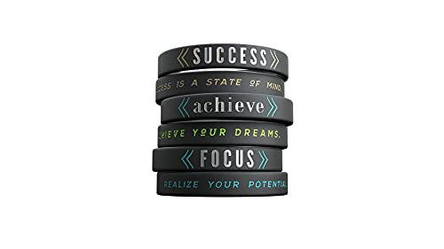 Inkstone 6-pack - Success, Achieve, Focus - Motivational Silicone Wristbands with Inspirational Messages - Adult Unisex Size for Men Women Teens