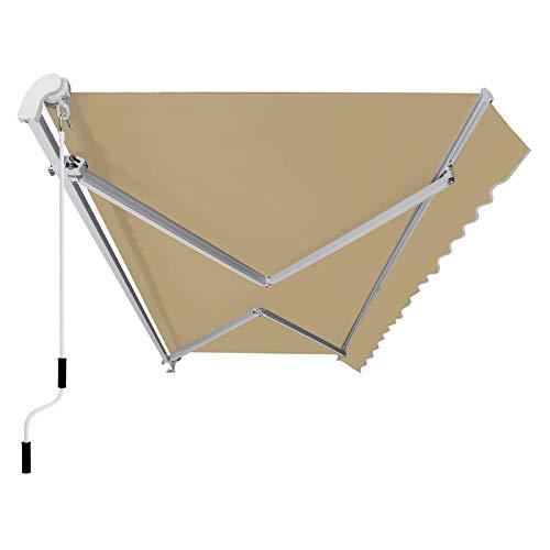 SONGMICS Gelenkarmmarkise 350 cm, Markise mit Kurbel, Sonnenschutz, Anti-UV und wasserfest, beige, 350 x 250 cm, GRA35BE