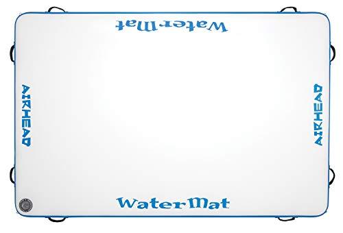 Airhead WATERMAT AIR Inflatable Deck, 8 ft. w Pump, White/Blue