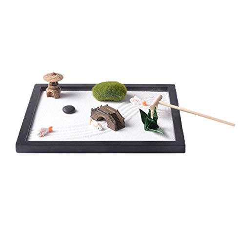 Fenteer Zen Sand Garten mit Miniatur und Zubehör Handwerk Geschenk Haus Zengarten Dekor