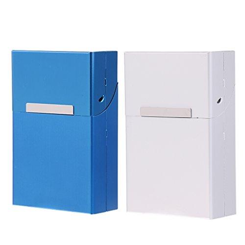 SM SunniMix Caja de Aluminio de 2 Piezas Contenedor de Capacidad de 20 Piezas - Azul Y Plateado