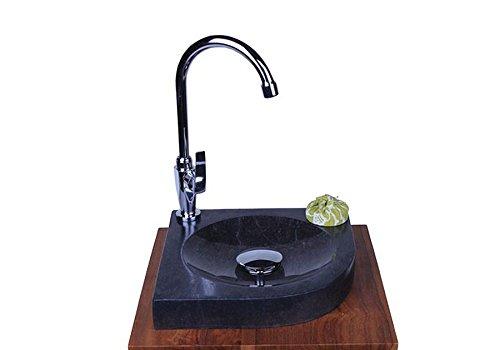 wohnfreuden Marmor Waschbecken Samba Mini 30 cm anthrazit ✓ Naturstein Waschschale Handwaschbecken eckig rundum poliert für Bad Gäste WC ✓ schnell & versandkostenfrei ✓