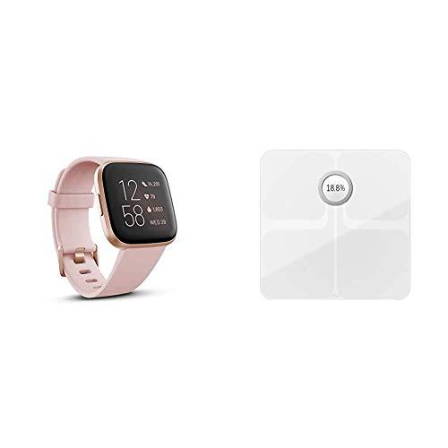 Fitbit Versa 2 Alexa搭載 スマートウォッチ Petal/Copper Rose +スマート体重計 Aria2 Whiteセット【日本正規品】