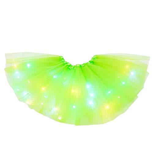 YWLINK Tut De NiA De 2-8 AOs Falda De Malla De Luz LED Falda De Baile Vestido De Princesa Fiesta De Carnaval Disfraz De Rendimiento Grupal Fiesta De CumpleaOs Bautismo