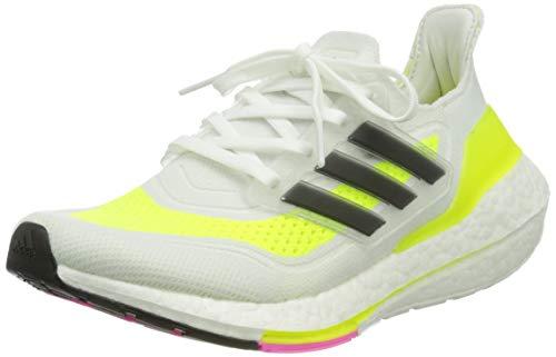 adidas Ultraboost 21 Running Shoe, Cloud White/Core Black/Solar Yellow, 38 EU