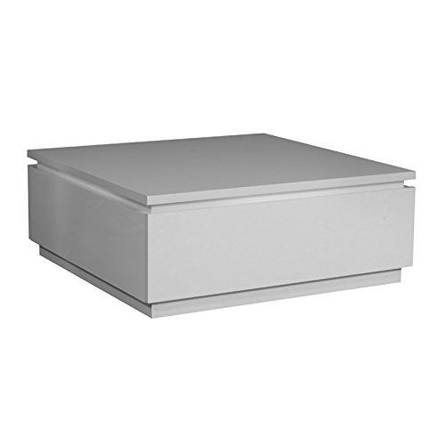 Tousmesmeubles Table Basse Laque Blanche - Carmen - L 90 x l 90 x H 35 - Neuf
