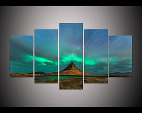 QQWER Cuadro sobre Lienzo 5 Piezas Impresiónstarburst sobre Aurora Borealis5 Piezas Tejido No Tejido Impresión Artística Imagen Gráfica Decoracion De Pared