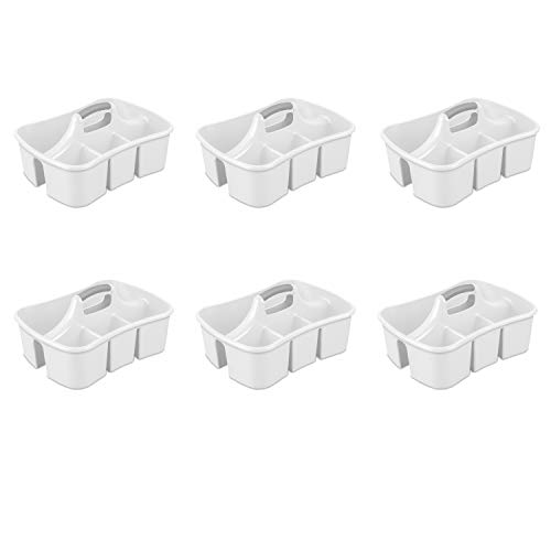 Sterilite 15888006 Divided Ultra Caddy, White Caddy w/ Titanium Insert, 6-Pack