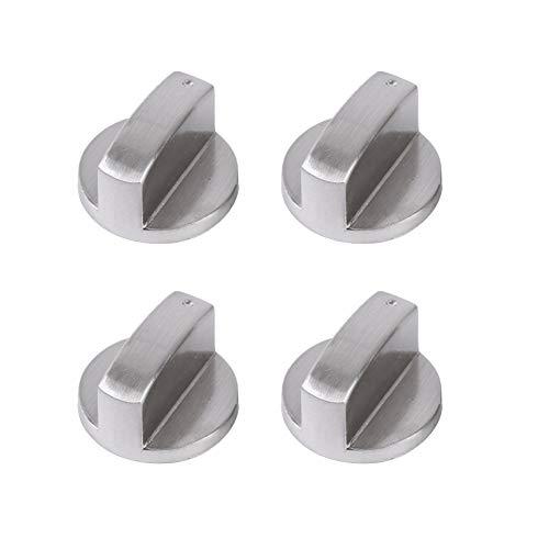 Pomo de la estufa de gas de 4 piezas Perillas de control de la cocina de metal SUNSHINETEK para hornos Cocinas y placas (8 mm, plateado)