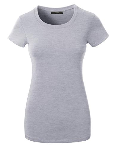 LE3NO Womens Casual Lightweight Fitted Round Neck Short Sleeve CottonT-Shirt Top with Stretch, HeatherGray, Small