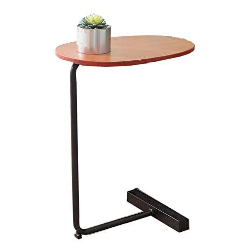 Table de Table Ronde multifonctionnelle Table d'appoint Table de Travail Table en Fer et Bois Massif Salon Familial et Chambre à Coucher (Couleur : Noir)