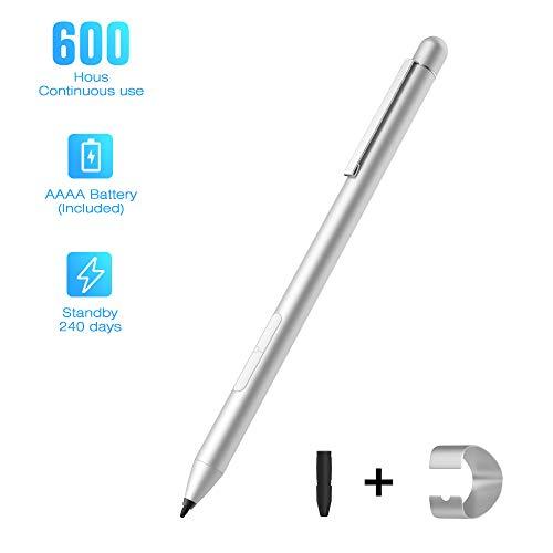 MoKo Lápiz Táctil para Microsoft Surface, Lapiz Stylus Activo Pen Capacitivo con 4096 Sensibilidad a La Presión con 600 Horas Compatible Surface 3/Pro 7/6/5/4/3/X 2019/Book/Go/Laptop/Studio - Plata