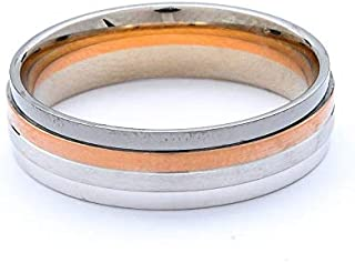 Breuning 18K White/Rose/Black Shiny & Matte Finish Wedding Ring [BR6340]