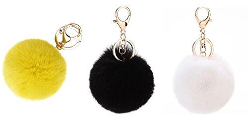 [ 3 pezzi ] NOVAGO Portachiavi Pompon - Genuina pelliccia di coniglio - Dolci al tocco (Bianco/Nero/Giallo)
