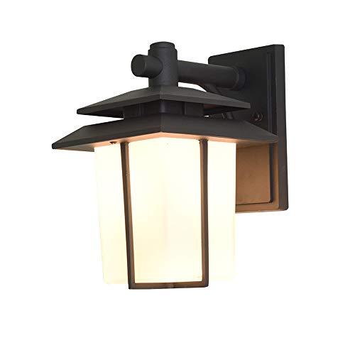 Luz de la pared europea Linterna al aire libre Muro de la pared Iluminación Vintage Exterior Montaje de pared Luz de acabado negro Patio Impermeable Montaje de pared Aplique a prueba de agua con vidri