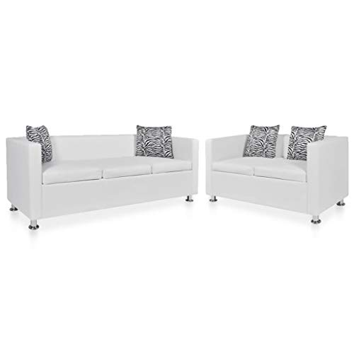 Festnight Modern Leather Couch Set 2-Seater and 3-Seater, Loveseat Sleeper, Sofa Bed with Armrest and Pillows for Living Room,Home Furniture White