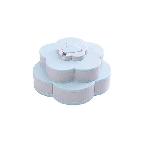 ZHENAO Jewelry Box- Overstep Creative Flower Type Rotating Candy Box Plastic Snack Storage Tray Family Snacks Partition Manager Box Party Wedding Candy Tray Gifts for Men and Women