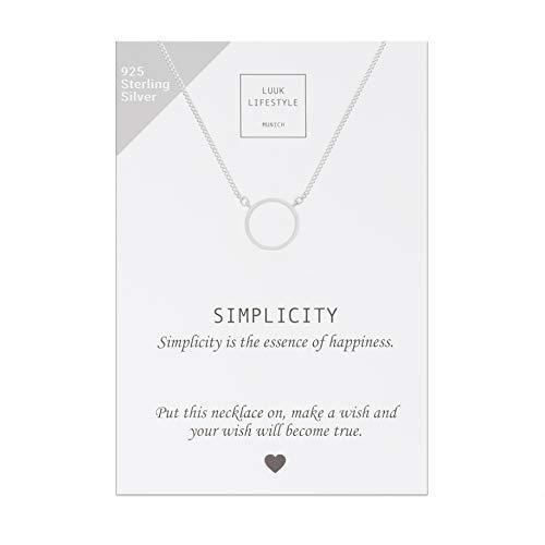 LUUK LIFESTYLE 925 Sterling Silber Halskette mit Kreis I Ring I Rund Anhänger und Simplicity Spruchkarte, Glücksbringer, Damen Schmuck, silber