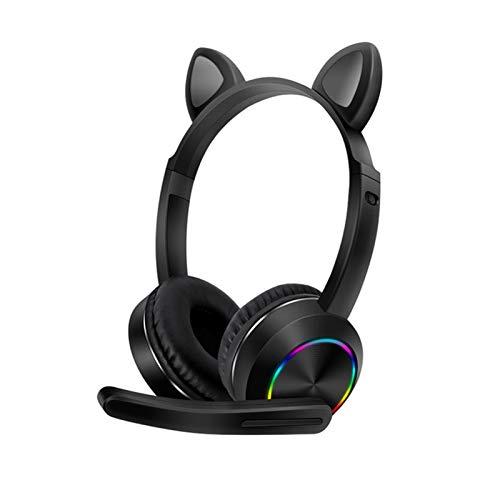 Auriculares con cable de oreja de gato con iluminación LED de cable largo de oreja de gato con micrófono de moda para los regalos de los niños