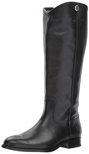 FRYE Women's Melissa Button 2 Extended Calf Riding Boot, Black Extended Calf, 9 M US