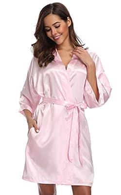 season dressing Women Satin Plain Short Kimono Bridesmaid Bathrobe Wedding Party Robe, Pink S/M