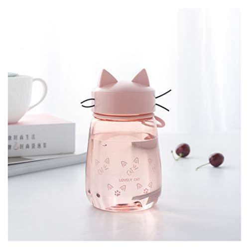 WEIYUE Botella de agua de plástico de 400 ml, ideal para deportes al aire libre, botella de agua portátil (color: rosa)