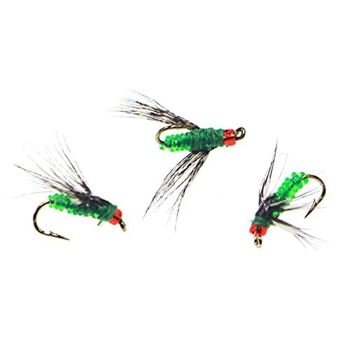XMSIA Señuelos de Pesca con Mosca Bugs Artificial Pack Trout Bait Mosca Dry Fly Ganchos Kit de señuelos con Caja 10pcs Pesca de Mosca Moscas secas señuelos Crankbaits de Triple Gancho