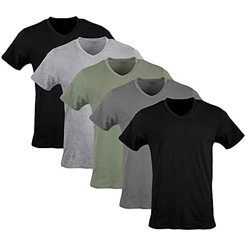 Gildan Men's V-Neck T-Shirts, Multipack, Black/Sport Grey/Charcoal/Military Green (5-Pack), Large