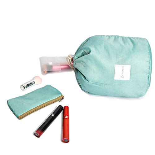 Charyeah Waterproof Cosmetic Bags Makeup Bag Travel Barrel Cases Kit Organizer Bathroom Storage Carry Case Toiletry Bags Multifunctional Bucket Toiletry Bag Polyester 300T (Blue)