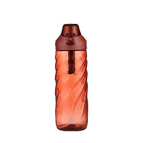 Botella de agua Botellas Gimnasio Deportes Ciclismo Correr Pequeño bloqueo Sports TRITAN Plastic Cup-Red_600ML,Botella de agua plástica libre de la taza del viaje del frasco de hidratación de Bpa