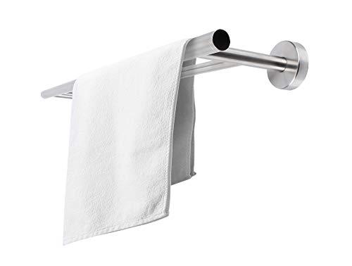 Jan Max Badetuchhalter ohne Bohren Doppelhalter für 60cm Handtuchbreite, Handtuchhalter Wand aus gebürstetem Edelstahl, Handtuchstange zum Kleben statt Bohren für Bad