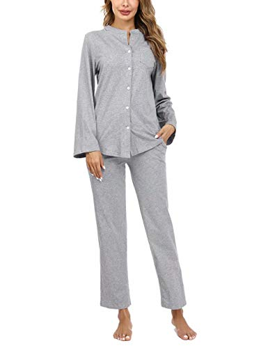 Aiboria Pijamas para Mujer Algodón, 2 Piezas Conjunto de Pijamas de Manga Larga con Botones V-Cuello Ropa de Dormir para Mujer