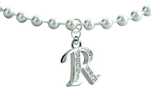 Bodytrend Dangle Anklet Silver Plated Letter R - Easy to wear, Suitable for Everyday wear - we use The CZ Crystals -Link 21cm with 5cm Extension -Beautifully Designed
