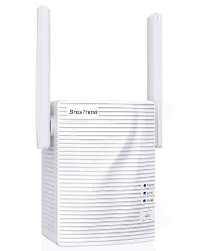 Repetidor wifi BrosTrend 1200Mbps, amplificador wifi, extensor wifi, intensificador wifi, amplía cobertura inalámbrica doble banda 5GHz, 2.4GHz, admite todas las redes de internet, 1puerto Ethernet
